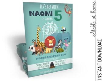 Zoo Birthday Invitation, Zoo Invitation, Zoo party Invitation, Safari Invitation INSTANT DOWNLOAD you personalize at home