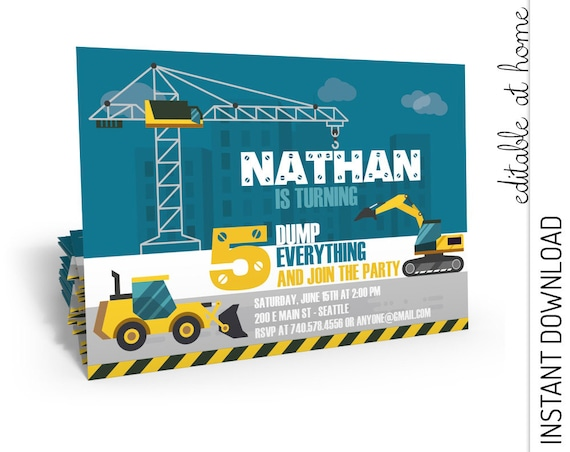Construction Birthday Invitation INSTANT DOWNLOAD