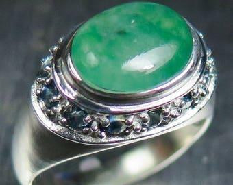 420ct natural green jade sapphires 925 silver gold 9ct 14k 18k 375 585 - Jade Wedding Ring