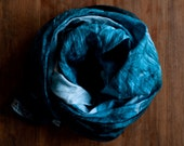 Linen scarf: painted forest, stormy blue pine trees from original painting, eco friendly nature design, brushstrokes of rain fashion shawl