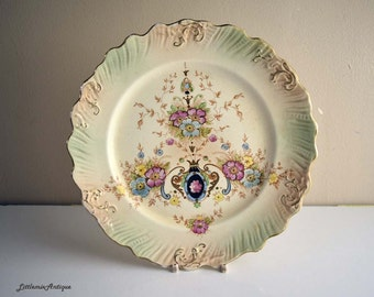 Antique Crown Devon Fielding Stoke on Trent England Floral Design Dessert/Lunch Plate Retro English Pottery Tableware