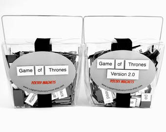 Game of Thrones Poetry Magnet Set Two Pack  - Refrigerator Poetry Word Magnets - Free Gift Wrap