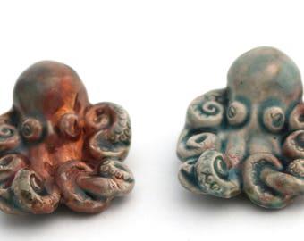 Octopus Ceramic Raku Pendant 30mm #124
