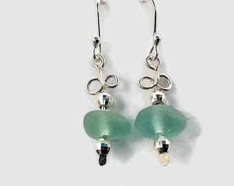 Aqua Sea Glass Earrings Wire Wrapped in Sterling Silver, English Beach Glass Jewelry, French Ear Wire, Gift for Wife, Handcrafted Jewelry