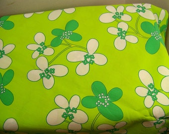 Vintage Fabric Bright Greens Floral 1970's