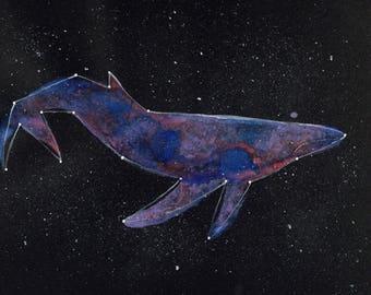 ORIGINAL Watercolour Painting - Pastel Constellation Whale