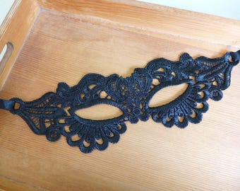 Vintage Black Lace Mask, Halloween Party Mask, Women's Masquerade Mask, Mask with Ribbon Lace
