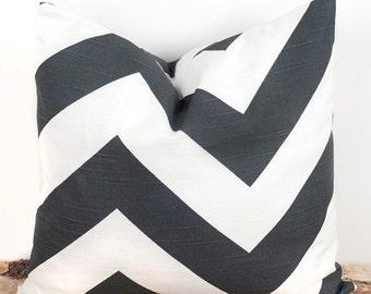 SALE ENDS SOON Decorative Chevron Gray Pillow Cover, Modern Home Decor Throw Pillow, Gray and White Pillow Case, 12x18