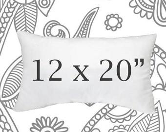 SALE ENDS SOON 12x20 Faux Down Pillow Insert, Pillow Forms, Cushions,  Lumbar Size Pillows, Down Pillows, Soft Pillows, 12