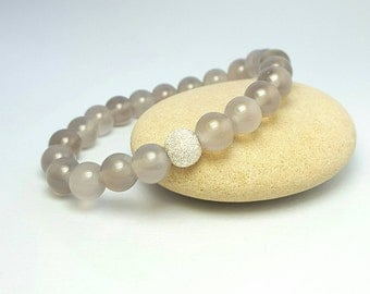 Ladies stretch bead bracelet / Grey agate bead bracelet / Sterling silver / stacking boho yoga beads