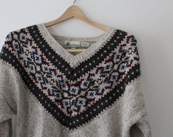 Cream V Neck Fair Isle Sweater