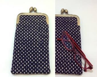 Navy tear drop Eye glass case/Sakura/ Smartphone case /Sun glass case / Hand-made/48