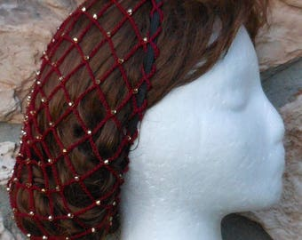 Snood Hairnet Crocheted Beaded Burgundy Renaissance Hair Snood Czech Glass Gold Beads SHOULDER LENGTH HAIR