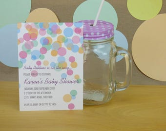 Baby Shower pastel coloured confetti themed printable invitation