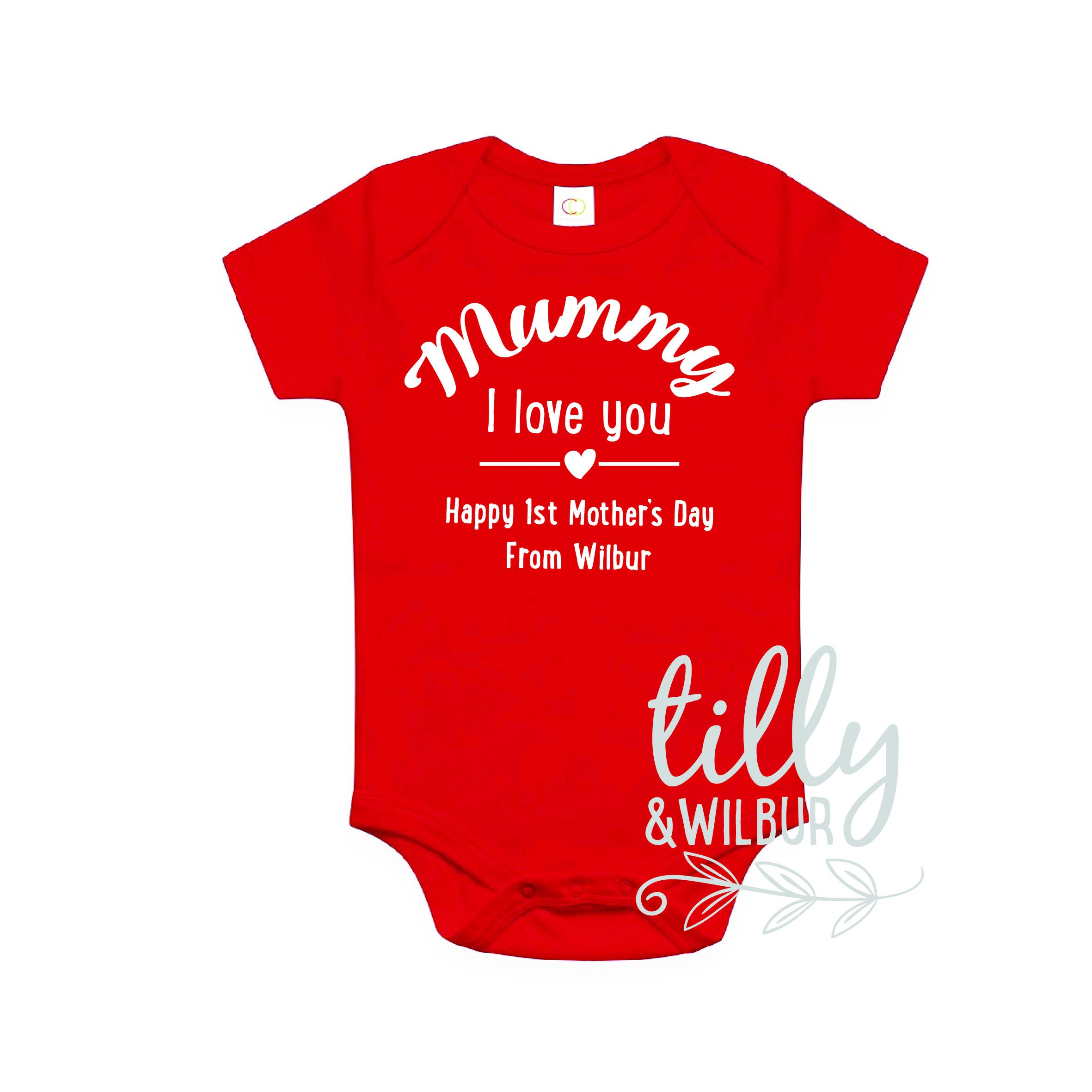 Tillywilbur personalised clothing gifts personalised mummy i love you happy first mothers day organic cotton 1st mothers day bodysuit negle Choice Image