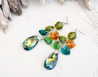Long Autumn Green Orange Swarovski Earring-Long Evening Statement Crystal Earrings Jewelry-Sahara Teardrop Dangle Multi Tone Silver Earrings