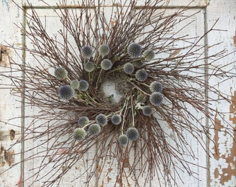 """Natural Brush Twig and Natural Dried Echinops (Globe Thistle) Wreath - 26"""""""