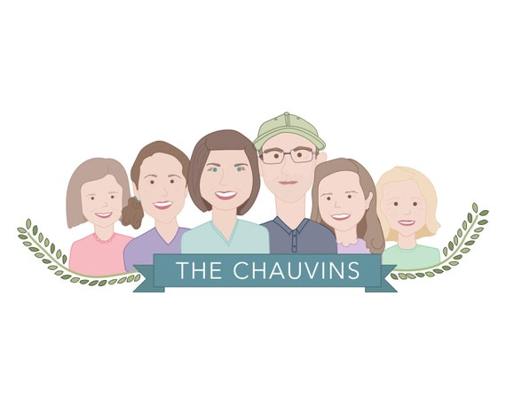 Family of Six - Family Doodle, Family Portrait, Cartoon, Custom Drawing, Custom Portrait