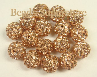 CLOSEOUT 10 mm Silk Pave Crystal Round Bead - Grade AAA - 10 pcs