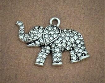 White Elephant Crystal Pendant Antique Silver Zoo Jungle Animal Charm