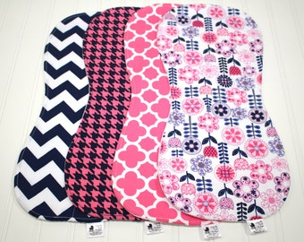 Navy Hot Pink Baby Burp Cloth Set for Girls - Pink Navy Flower Shower, Pink Houndstooth, Baby Burp Clothes, Girl Burp Cloths, baby burp rags