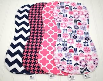 Navy Hot Pink Baby Burp Cloth Set for Girls - Pink Navy Flower Shower, Pink Houndstooth, Baby Burp Clothes, Girl Burp Cloths, baby burp rags