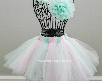 Newborn girl outfit, pink aqua mint green tutu, infant headbands, baby tutu set, fluffy skirts, baby girl headband, photo prop, baby shower