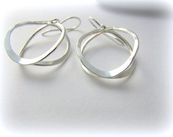 Sterling silver earrings. Hammered silver earrings. Maine gift. Silver hoops. Silver dangle earrings.  Hoop earrings