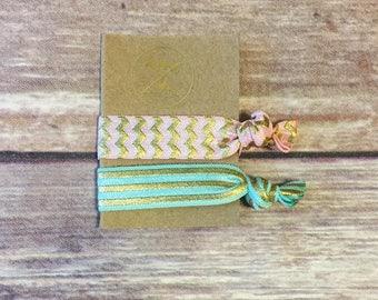 Set of 2 - Mint/Peach/Gold Hair Ties