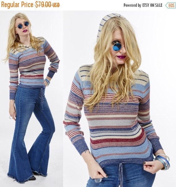 Vtg 70s LUREX Striped Hoodie Shirt Blouse METALLIC Thread sparkle glitter shiny top Hippie Boho Psychedelic Grunge rare Stretchy color block