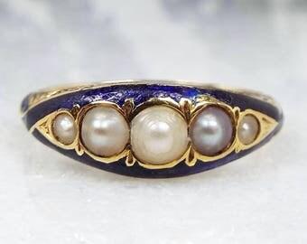 Antique Georgian 18ct Gold Engraved Royal Blue Enamel 5 Pearl Band Ring / Size O 1/2