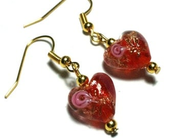 Small Red Glass Heart Earrings Lentil Bead, Vintage Gold Tone - Hooks, Clip-On,  or Butterfly Studs (ET14-8)