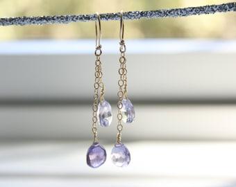 Dangle Earrings, Drop Earrings, Pink and Purple Amethyst Chain Earrings, Simple, Minimalist, Boho, Fresh Earrings, StudioAtPennyLane