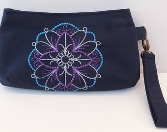 Embroidered Purse, Navy Blue, Wristlet, Clutch, Machine Embroidered, Gift for Her, Evening Bag, Special Occasion Purse