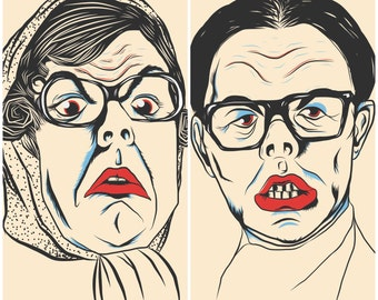 Set of 2. The League of Gentlemen's Tubbs and Edward illustration prints 5x7