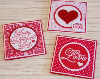 Valentine's Mini Note Card Set - Set of 3 - Cards Measure 3 x 3 inches - Includes Envelopes