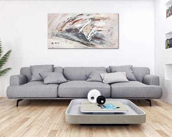 """Fine art abstract with beige and gray on canvas: """"Breaking out"""" 39x20"""". Wall hanging framed. Design acrylic painting for living room, office"""