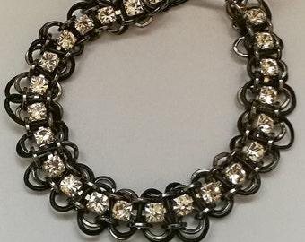 Upcycled Rhinestone bracelet with optional personalised name charm