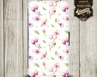"""Handytasche, Leather Wallet Phone Case  iPhone & Samsung,Sony Xperia  """" Magolie rosa """""""