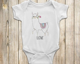 LLAMA LLOVE Baby One Piece, White or Ash Gray Shirt, Sizes: New Born, 6M, 12M, 18M, 24M