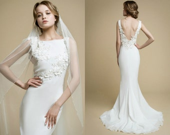 AIOLA / mermaid wedding dress low back wedding dress flowers wedding dress floral wedding dress