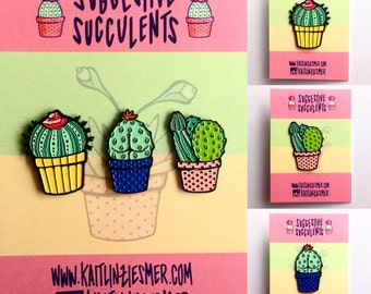 Suggestive Succulent Enamel Pins!