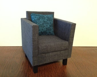 """Charcoal doll chair, Dollhouse furniture, 1:6 1/6 scale, 10-12"""" dolls"""