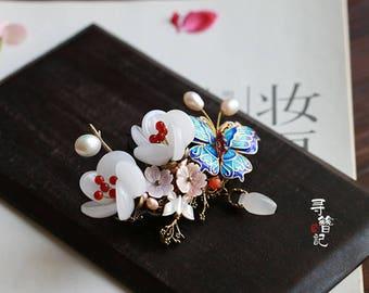 Handmade hair clip,butterfly hair clip,Flower hair clip,Plum blossom hair clip,gift for women,gift for girlfriend