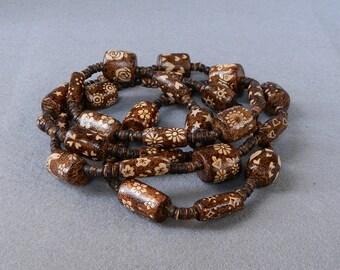 Flower Power unique woodburned necklace or wrap bracelet wooden jewelry