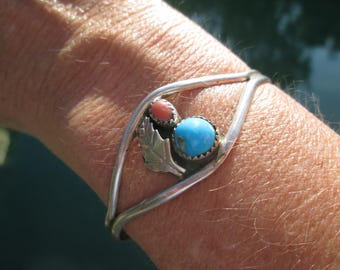 Turquoise, Coral and Sterling Silver Feather Cuff Bracelet