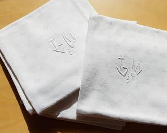 French antique Damasked Linen napkins, hand embroidered  monogram JM, monogrammed JM, set of 6