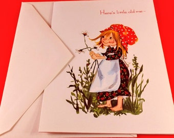 """Vintage Fravessi Get Well Card with Holly Hobbie Like Girl & White Envelope. """"Here's Little Old Me, The Get Well Wisher"""". 1970's Memorabilia"""