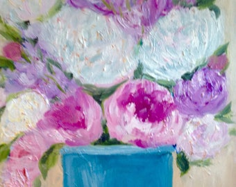 Original oil painting still life art  French country garden vintage Original oil painting,peonies 11x14 soft flowers