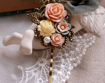 Flower hair pin Salmon pink ivory and dusky blue flower Bobby hair pin Vintage style hair pin